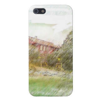 A red house Drawing Cover For iPhone 5/5S