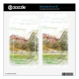 A red house Drawing Motorola Droid X2 Skins