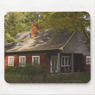A Red Log Home Mouse Pad