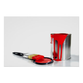 a red paint bucket and brush poster