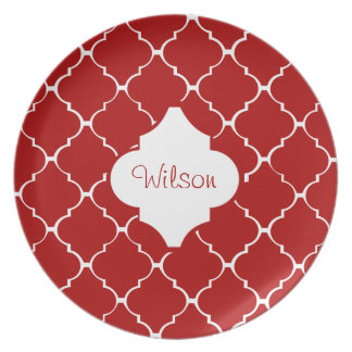 A Red Pattern Dinner Plate