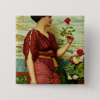 A red, red rose pinback button