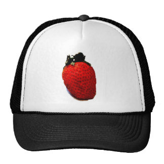 A red ripe strawberry, ready to be eaten, yummy hats