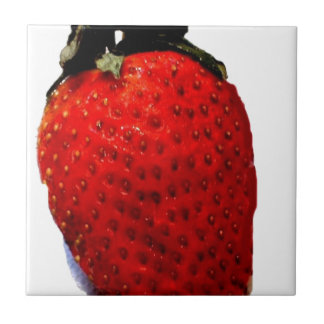 A red ripe strawberry, ready to be eaten, yummy small square tile
