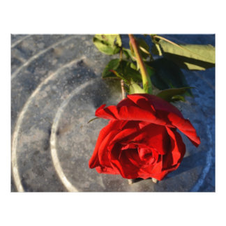 A red rose on a silver circled background right personalized flyer