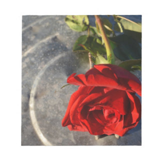 A red rose on a silver circled background right memo pads