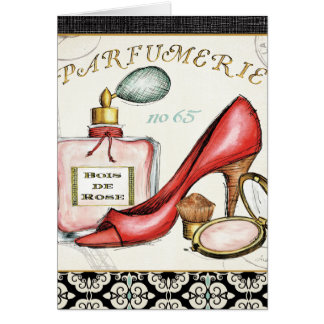 A Red Shoe, A Bottle of Perfume, and Blush Powder Card