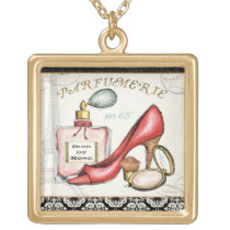 A Red Shoe, A Bottle of Perfume, and Blush Powder Gold Finish Necklace
