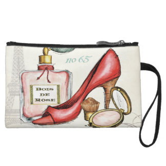 A Red Shoe, A Bottle of Perfume, and Blush Powder Wristlet Wallet