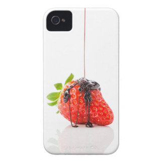 A red strawberry falling chocolate to him iPhone 4 cover