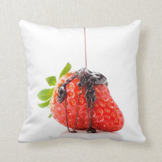 A red strawberry falling chocolate to him throw pillow