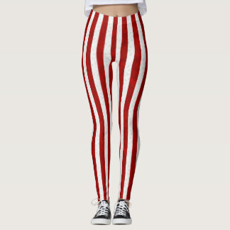 A red striped faux lace pattern leggings