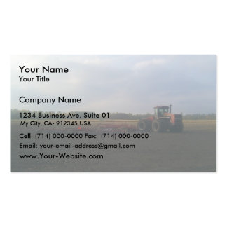 A Red Tractor Resting On The Open Fields... Business Card Template