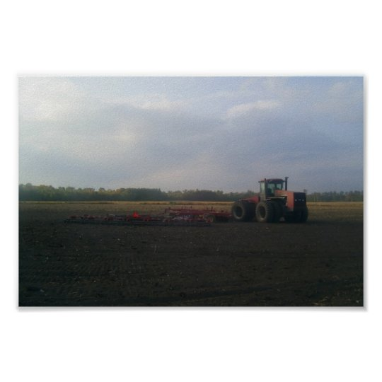 A Red Tractor Resting On The Open Fields... Poster
