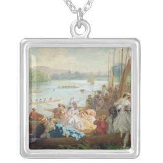 A Regatta at Asnieres during the Second Empire Silver Plated Necklace