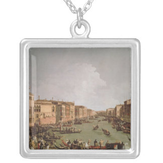 A Regatta on the Grand Canal, c.1735 Silver Plated Necklace