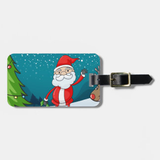 a reindeer and santa claus luggage tag