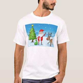 a reindeer and santaclause T-Shirt