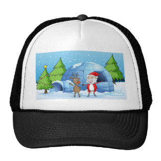 a reindeer and santaclause trucker hat