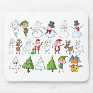 A reindeer beside Santa Claus with his list Mouse Pad