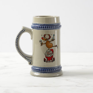 A reindeer dances on Santa's back Beer Stein