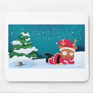 A reindeer near the pine tree wearing Santa's dres Mouse Pad
