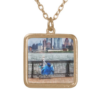 A Relaxing Day For Fishing Square Pendant Necklace