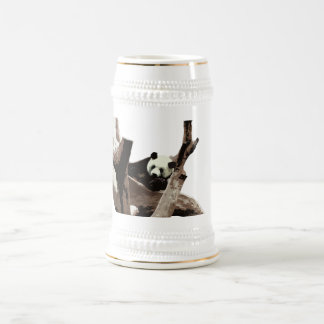 A relaxing giant panda on tree branches beer stein