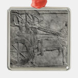 A relief depicting the Assyrian army in battle Square Metal Christmas Ornament