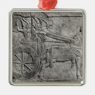 A relief depicting the Assyrian army in battle Christmas Ornament