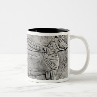 A relief depicting the Assyrian army in battle Two-Tone Coffee Mug