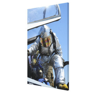 A rescue drill is performed on the flight deck canvas print