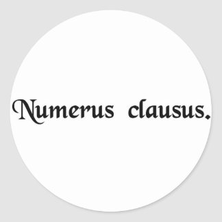 A restricted number classic round sticker