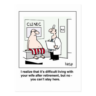 A retiree at the doctor's postcard