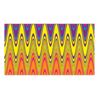 A retro neon pink  yellow wave pattern Double-Sided standard business cards (Pack of 100)