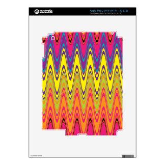 A retro neon pink  yellow wave pattern iPad 3 skin