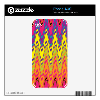 A retro neon pink  yellow wave pattern iPhone 4S skins