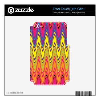A retro neon pink  yellow wave pattern iPod touch 4G skin