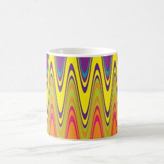A retro neon pink  yellow wave pattern magic mug
