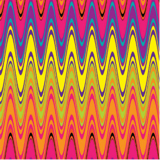 A retro neon pink  yellow wave pattern standing photo sculpture