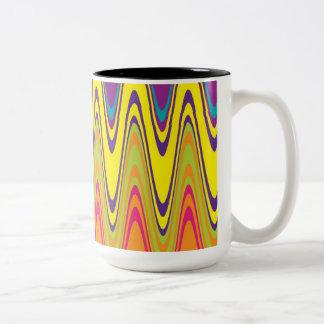 A retro neon pink  yellow wave pattern Two-Tone coffee mug