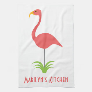 A Retro Pink Flamingo For The Kitchen Hand Towel at Zazzle