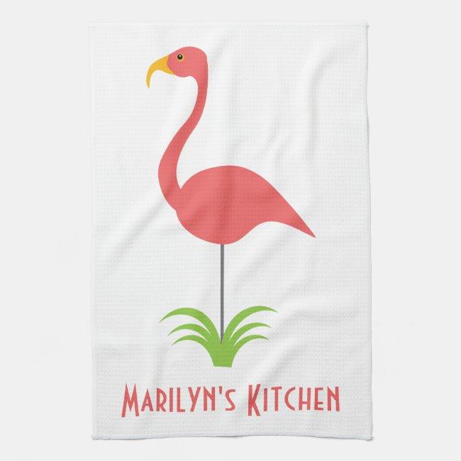A Retro Pink Flamingo for the Kitchen Kitchen Towel