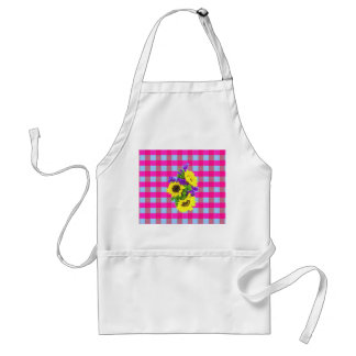 A Retro Pink Teal Checkered Sun Flower Pattern. Apron
