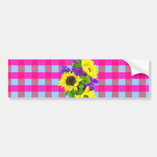 A Retro Pink Teal Checkered Sun Flower Pattern. Bumper Sticker