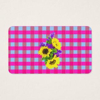 A Retro Pink Teal Checkered Sun Flower Pattern. Business Card