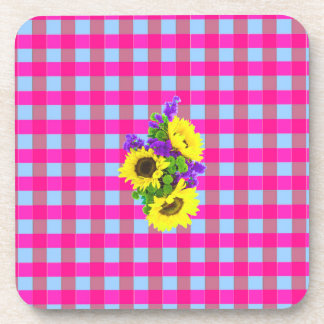 A Retro Pink Teal Checkered Sun Flower Pattern. Beverage Coasters