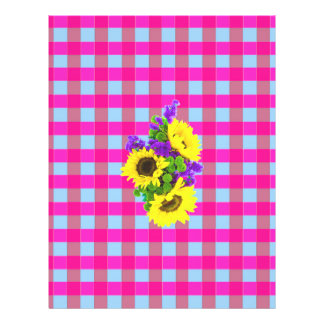 A Retro Pink Teal Checkered Sun Flower Pattern. Full Color Flyer