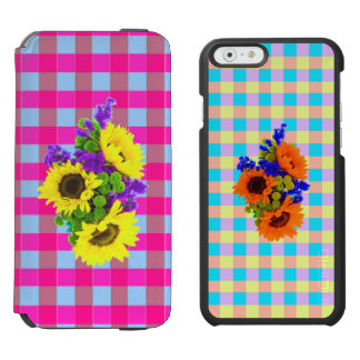 A Retro Pink Teal Checkered Sun Flower Pattern. iPhone 6/6s Wallet Case