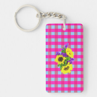 A Retro Pink Teal Checkered Sun Flower Pattern. Acrylic Keychains